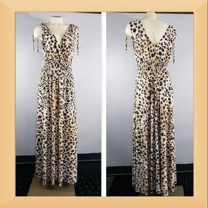 Just Love elastic waist animal print maxi dress